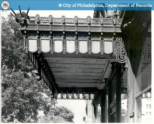 317-321 North Broad Street: Detail canopy looking north Project:315 - 321 North Broad Street - Packard Motor Corporation Building Creator:Thomas, George E., Photographer.