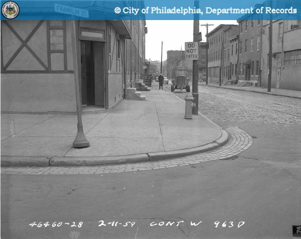 Contract W963D - East Side of Franklin Street from Willow Street to Spring Garden Street: S.E. [Southeast] Cor[ner] [of] Franklin Street - South from Spring Garden Street.