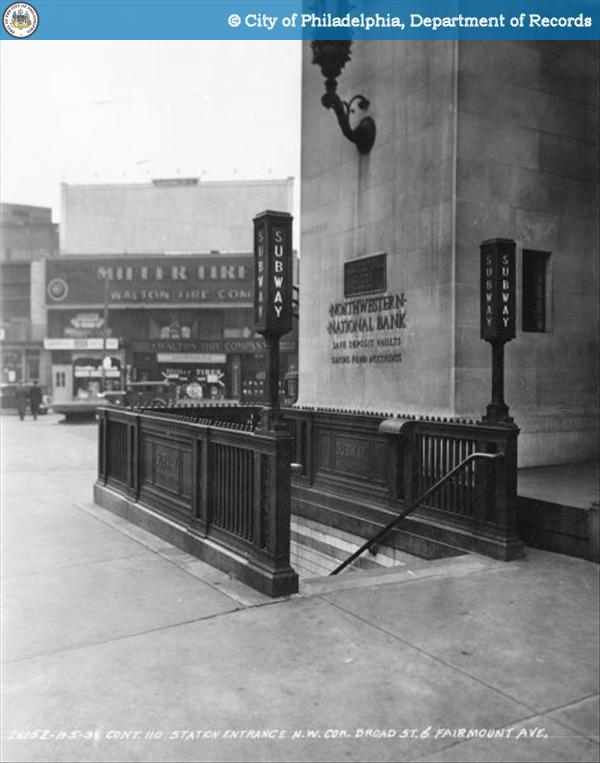 Contract 110 - Station Entrance - Northwest Corner - Broad Street and Fairmount Avenue.