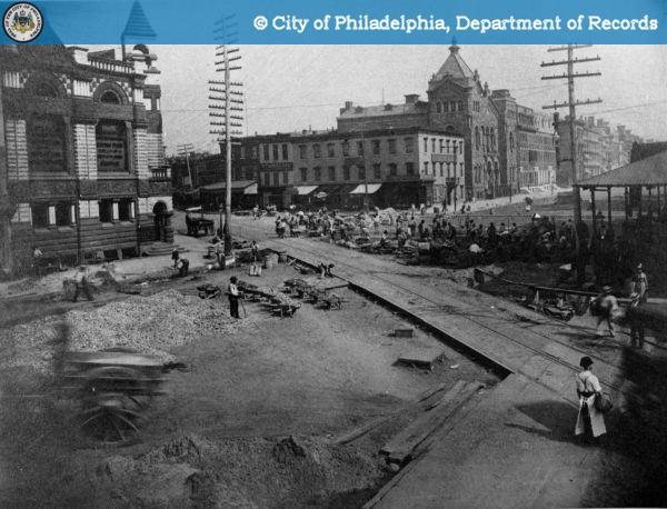Broad Street - Ridge and Fairmount - Concreting and Asphalt Paving on Broad Street at the Intersection of Ridge Avenue and Fairmount Avenue - 1892.