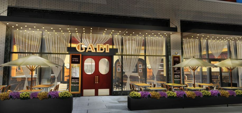 rendering of restaurant exterior with sidewalk tables and a sign that says gabi