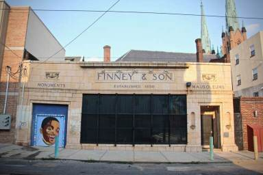 The Philadelphia Mausoleum of Contemporary Art is located in the former showroom of Finney and Son, located on 12th Street at Spring Garden. (Emma Lee/WHYY)