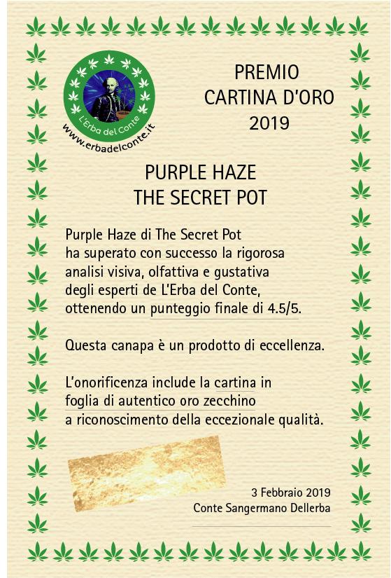 certificato qualità purple haze