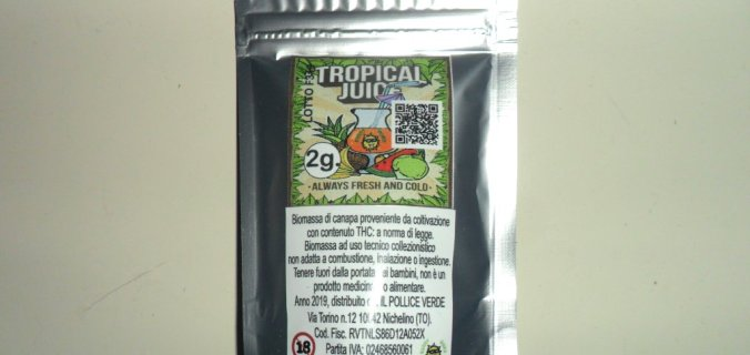 Bustina argentata di cannabis light Tropical Juice di Sunny Weed