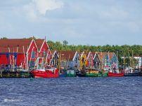 Zoutkamp Haven Schepen Gekleurde Huisjes