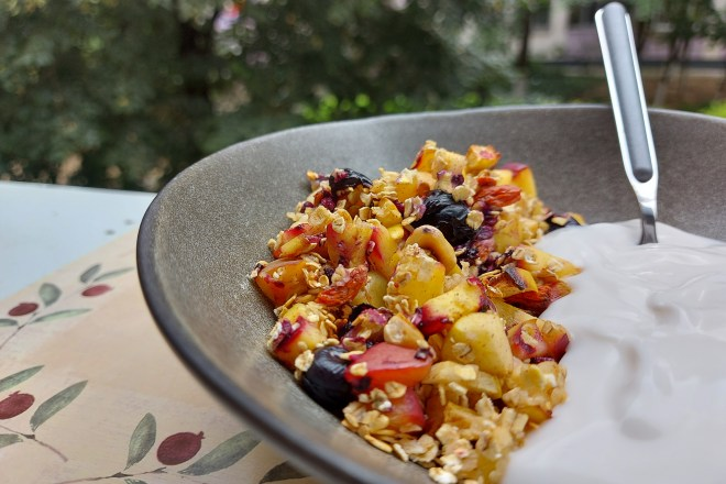 mic dejun cald cu fructe si iaurt