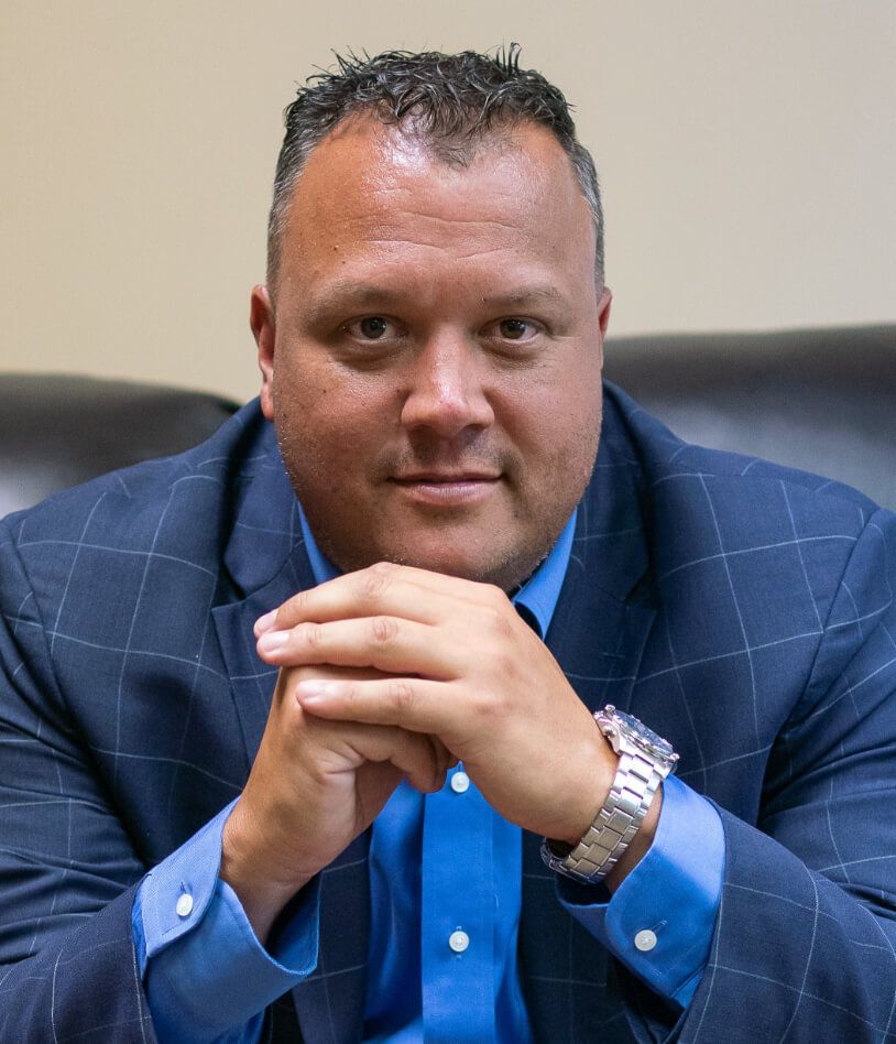 Thomas Erb Jr. in blue suit