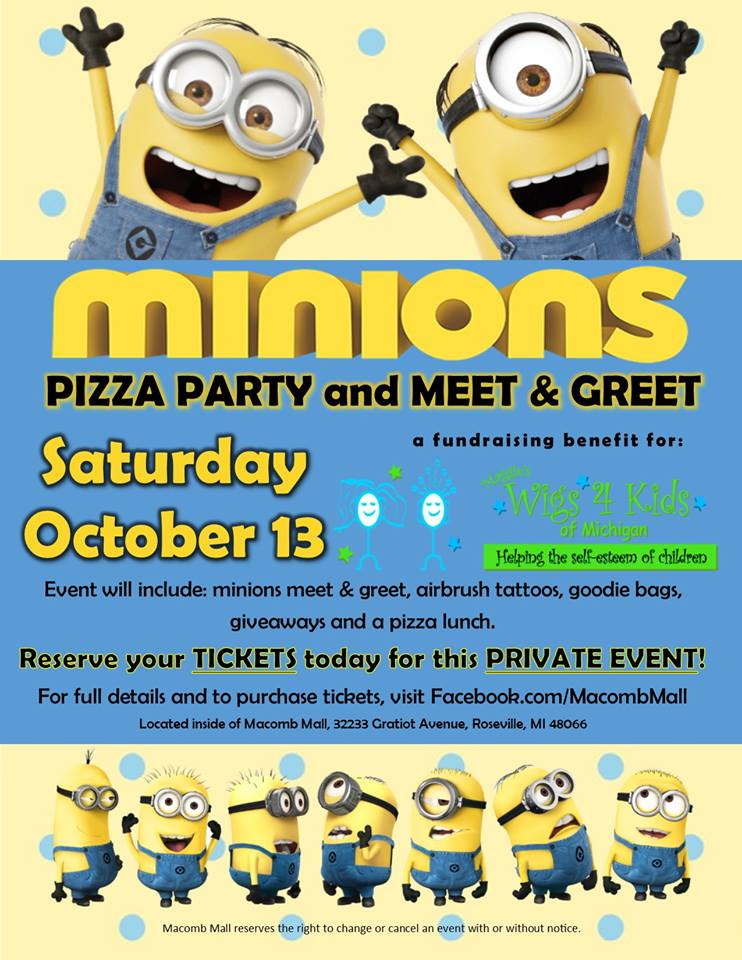 Macomb mall minions pizza party with meet greet eastpointe event navigation m4hsunfo