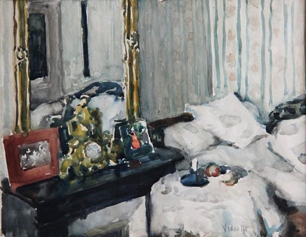Párizsi szobám, 1911 (akvarell, papír; 23 x 29,5 cm, j.j.l.: Vida 1911. Maros Megyei Múzeum)