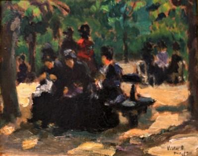 A Luxemburg kertben, 1911 (olaj, karton; 19,5 x 24,5 cm, j.j.l.: Vida A. Paris 911. Maros Megyei Múzeum)