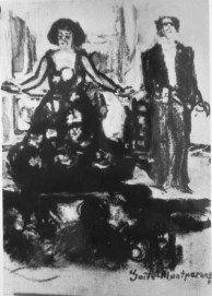 Színpadi jelenet (pasztell, papír; 24 x 16,5 cm, j.j.l. Gaîté Montparnasse. Elpusztult)