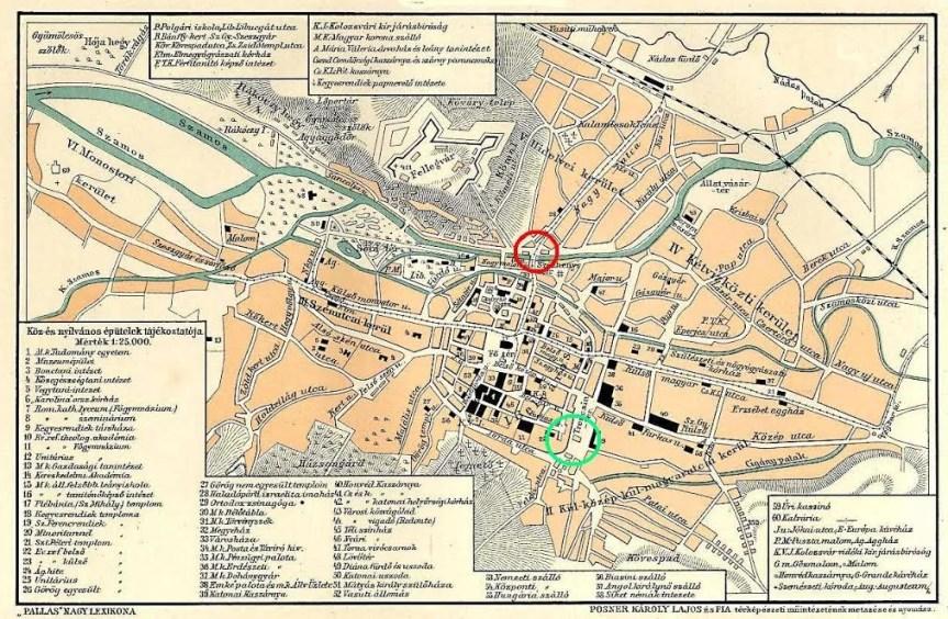 Kolozsvár térképe jelölve