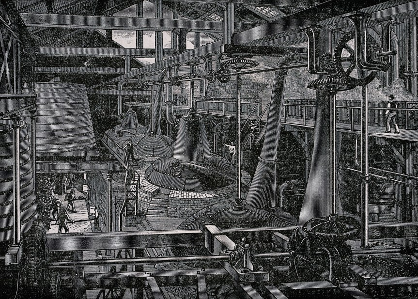 A_still_house_in_a_whiskey_distillery_-_Wood_engraving,_late_19th_century_-_Wellcome_V0019351