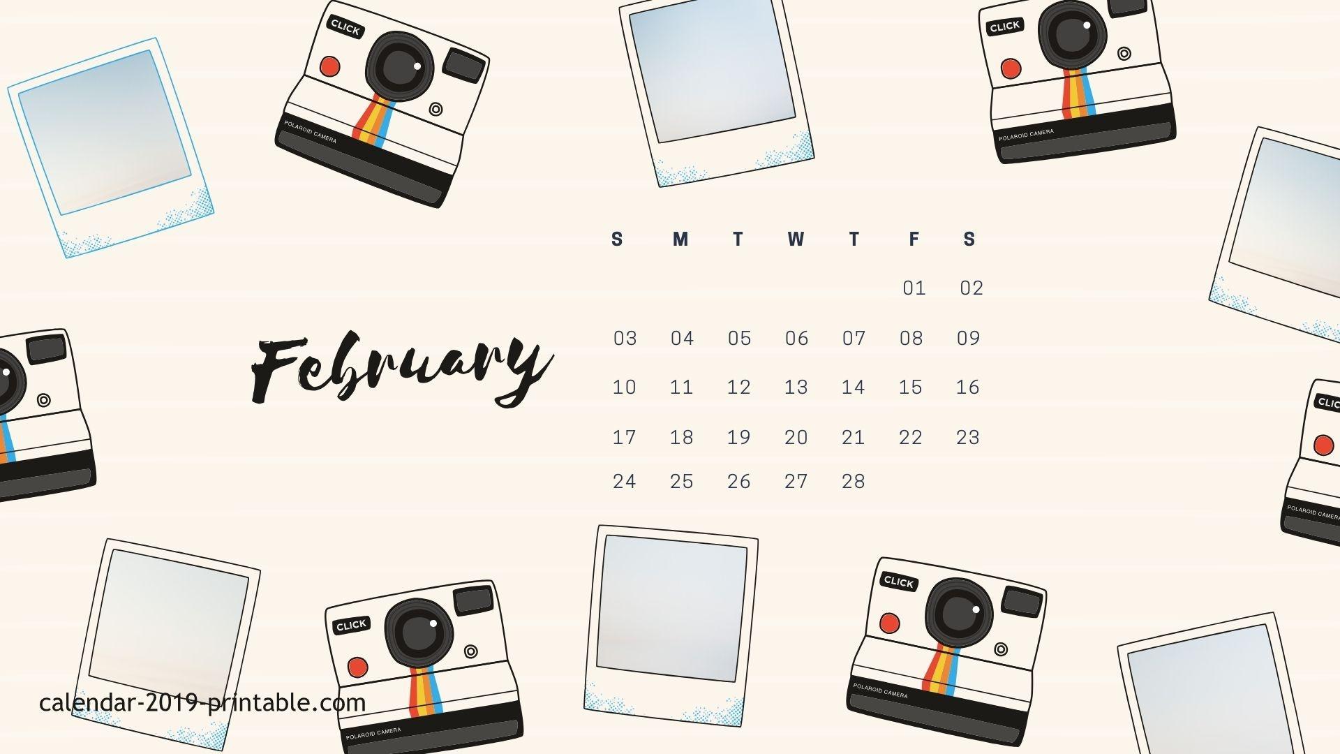 February 2019 Desktop Calendar Blue Jeans Desktop Wallpaper Calendar February 2019   Desk Decorating Ideas