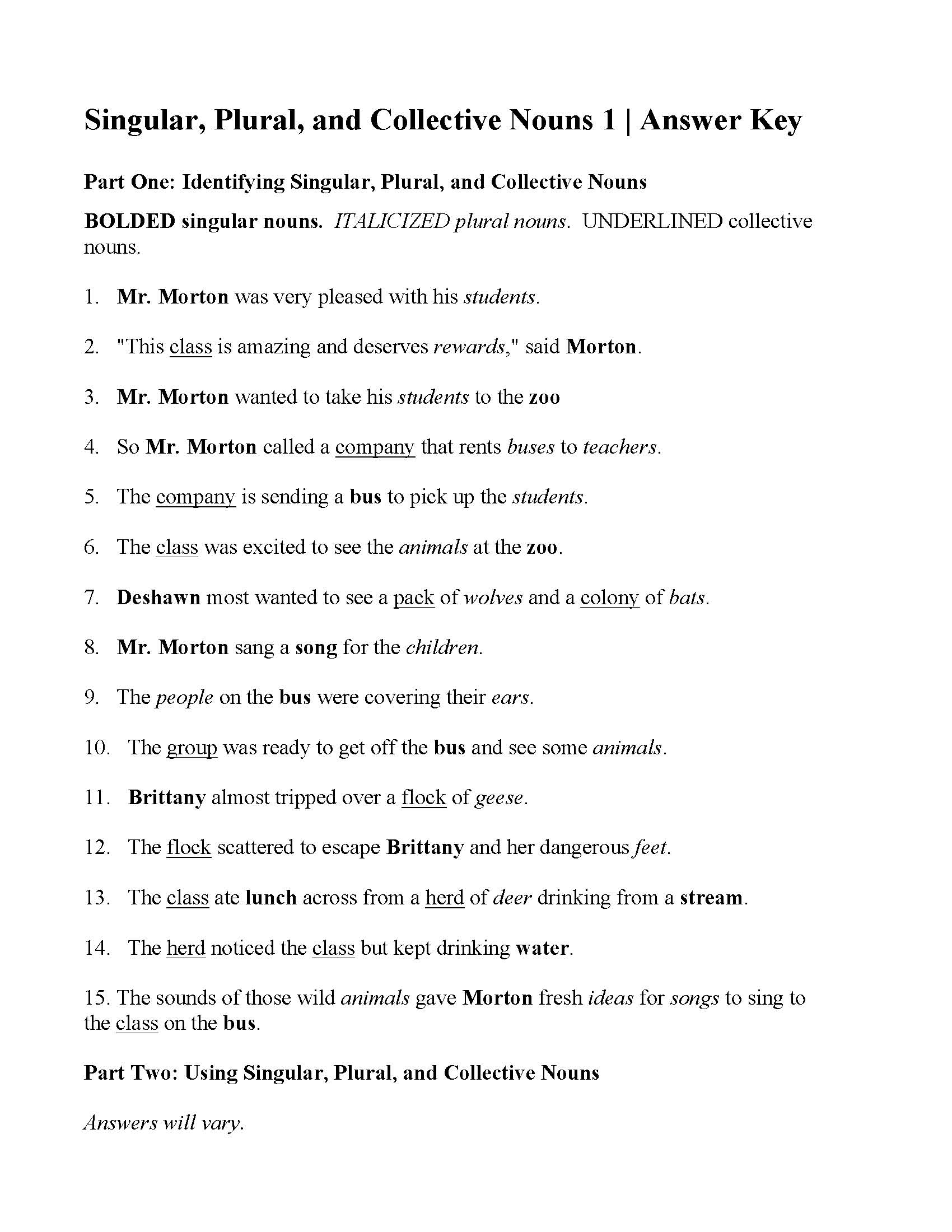 Noun Worksheets With Answers : worksheets, answers, Singular,, Plural,, Collective, Nouns, Worksheet, Answers