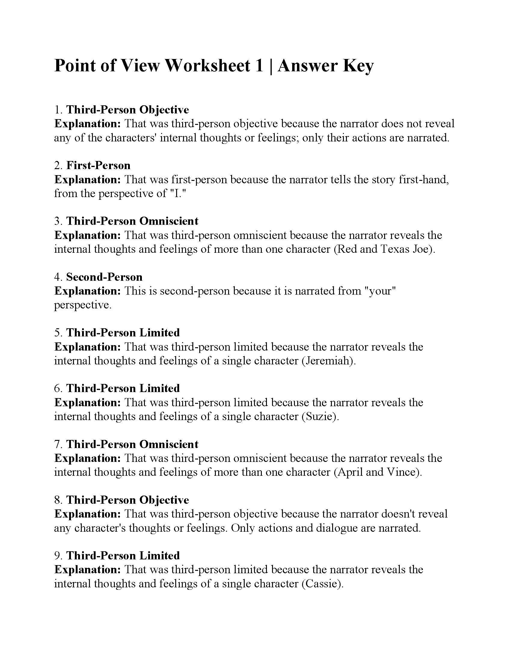 Point Of View Worksheet 1 : point, worksheet, Point, Worksheet, Answers
