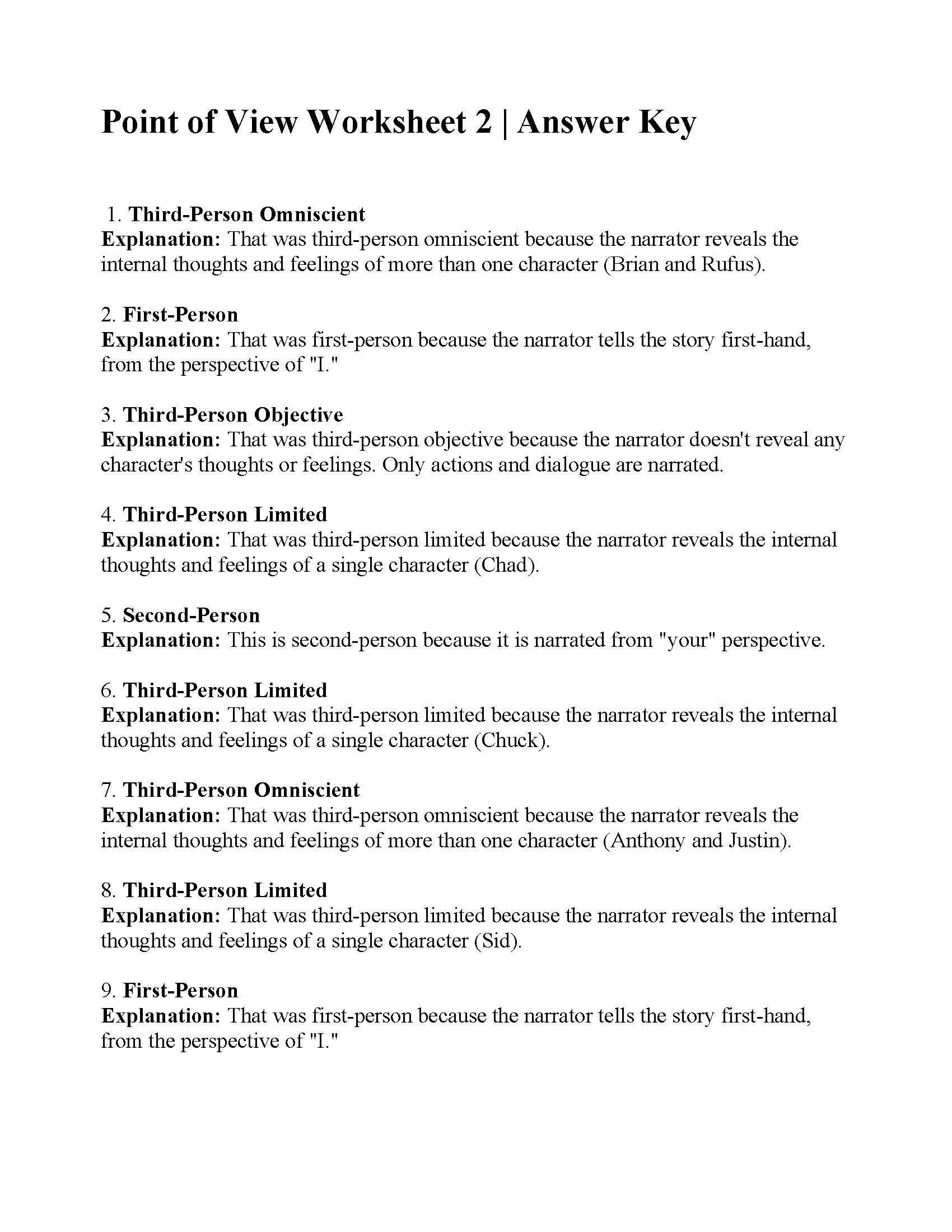 Point Of View Worksheet 3 : point, worksheet, Point, Worksheet, Answers