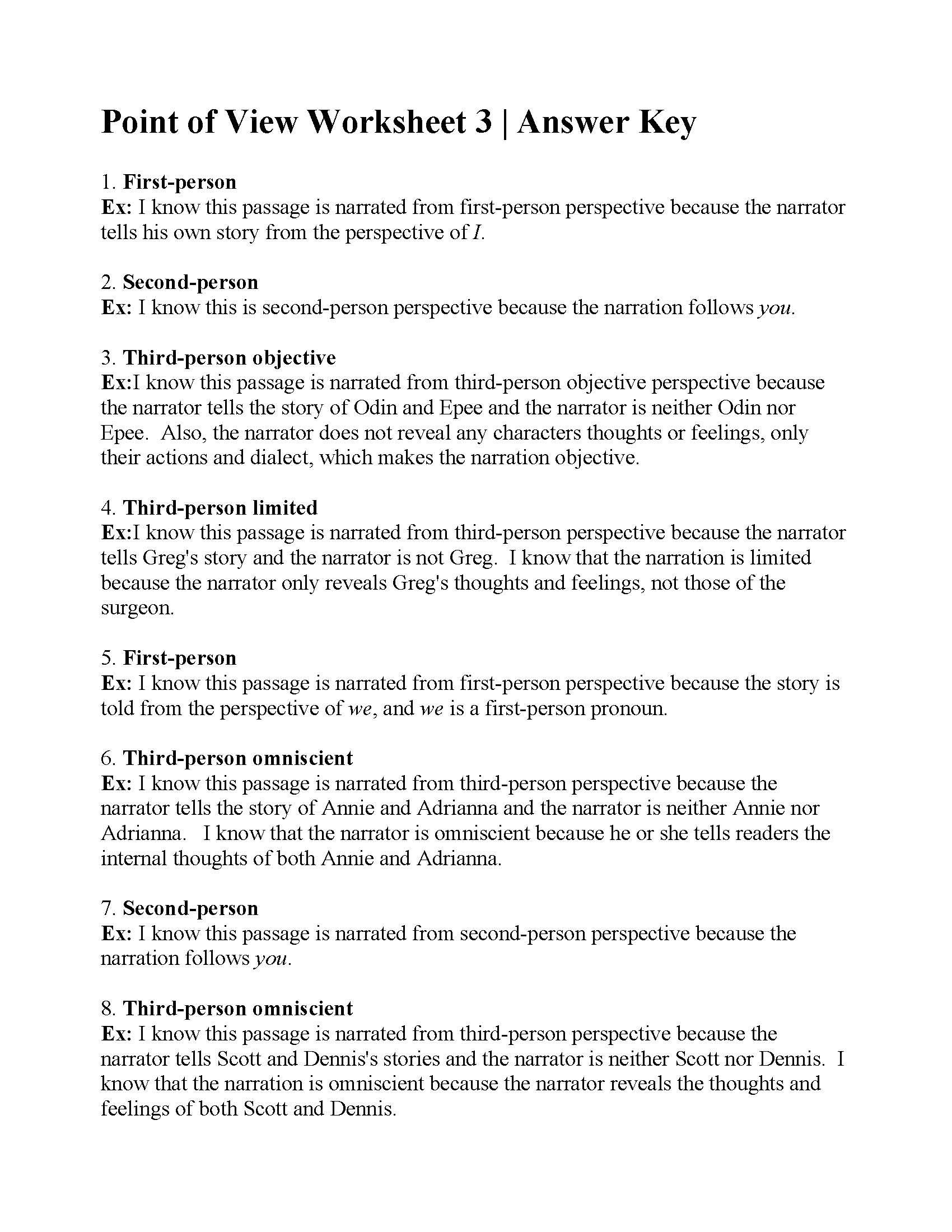 Point Of View Worksheet 2 : point, worksheet, Point, Worksheet, Answers