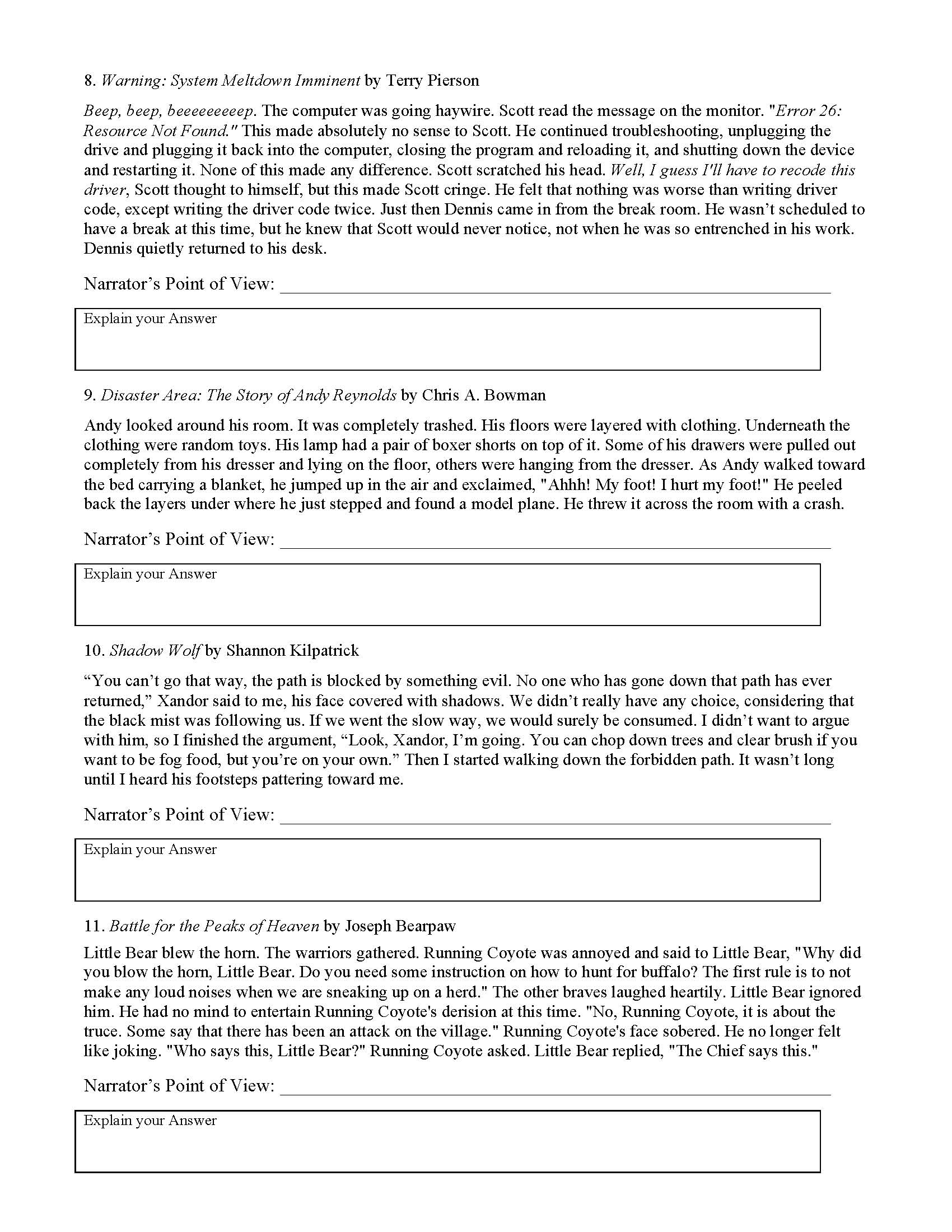 Point Of View Worksheet 3 : point, worksheet, Point, Worksheet, Preview