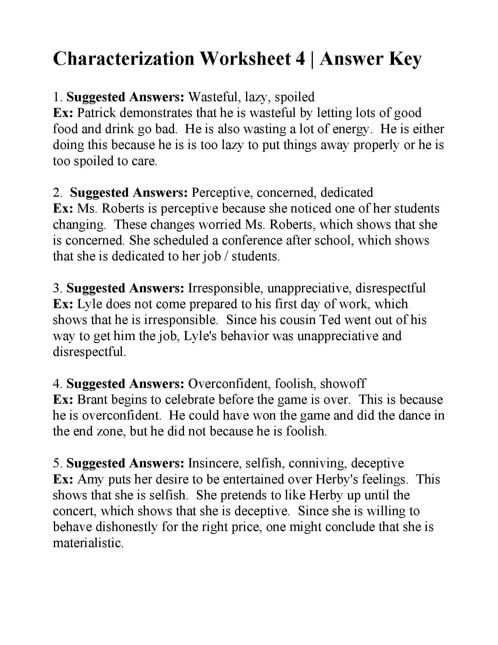 Characterization Worksheet 2 : characterization, worksheet, Character, Trait, Chart, Daval