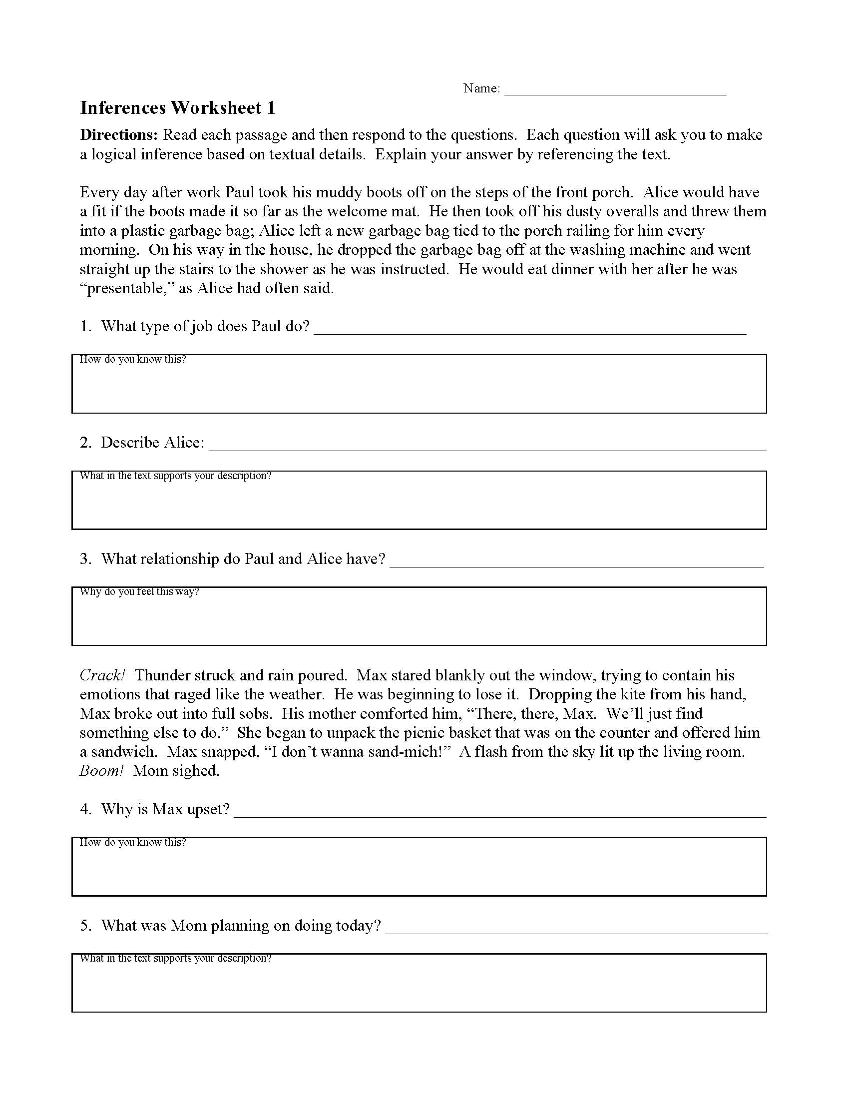 Inferences Worksheet 1  Preview