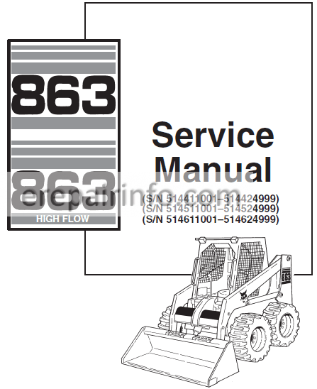 Bobcat 863 Service Repair Manual Skid Steer Loader 6724799