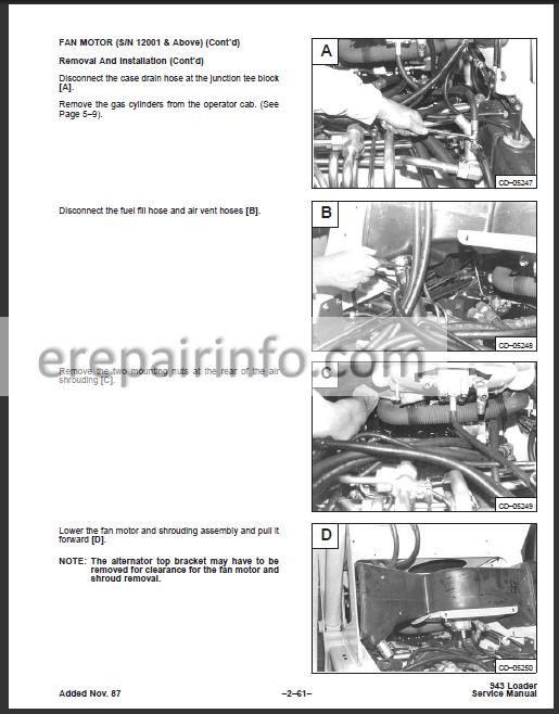 Bobcat 943 Service Repair Manual Skid Steer Loader 6570008
