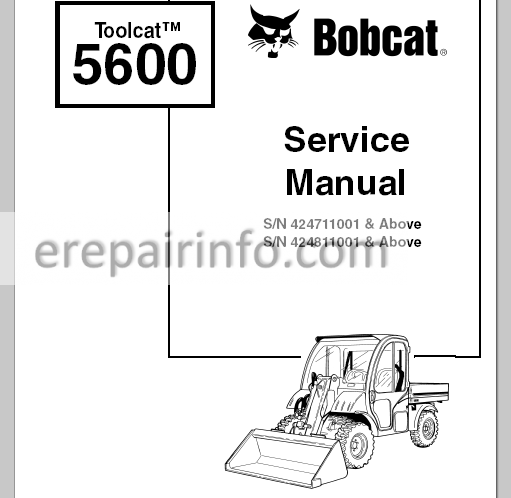 Bobcat Toolcat 5600 Service Manual Utility Work Machine