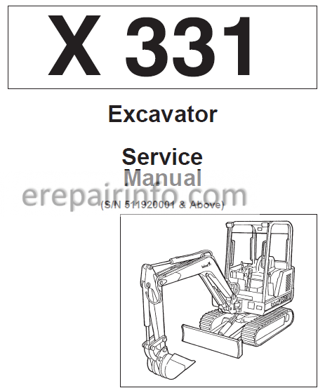 Bobcat X331 Service Repair Manual Hydraulic Excavator