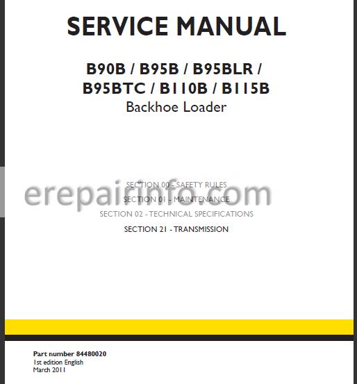 New Holland B90B B95B B95BLR B95BTC B110B B115B Service Manual Backhoe  Loader