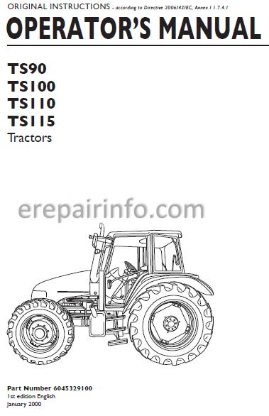 New Holland Ts90 Ts100 Ts110 Ts115 Operators Manual  U2013 Erepairinfo Com