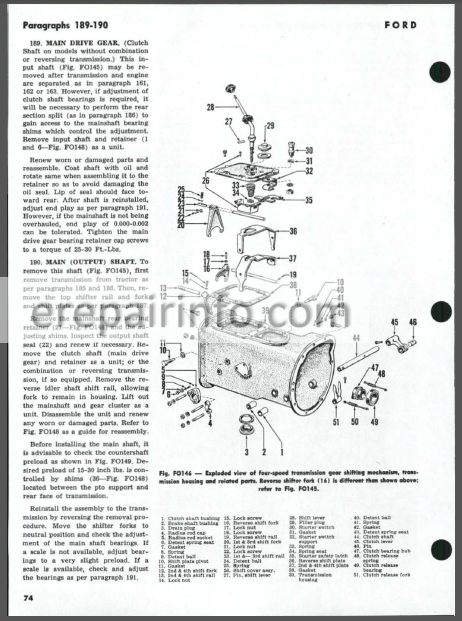 Ford 600-900 501-901 1801 2000 4000 Shop Manual