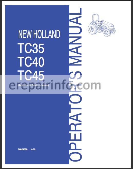 New Holland Tc35 Tc40 Tc45 Operators Manual  U2013 Erepairinfo Com
