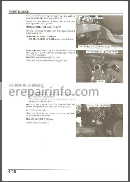 Honda Trx450r Service Manual Atv  U2013 Erepairinfo Com