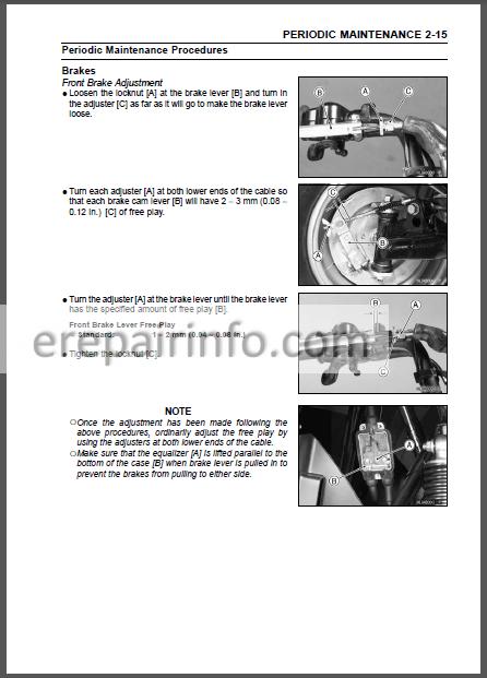Kawasaki Klf 250 Bayou 250 Workhorse 250 Service Manual Atv Erepairinfo Com