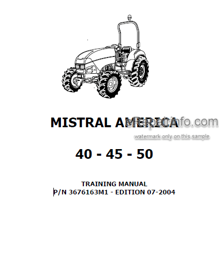 Landini Mistral America 40 45 50 Training Repair Manual