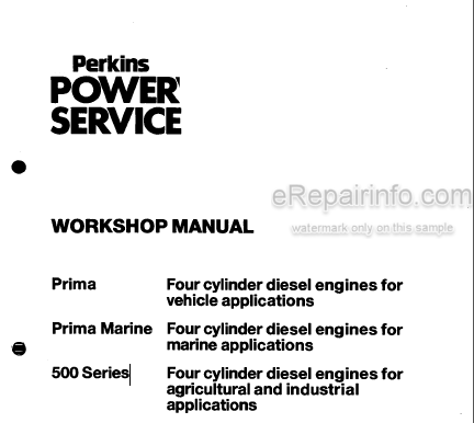 Perkins Prima Prima Marine 500 Series Workshop Manual