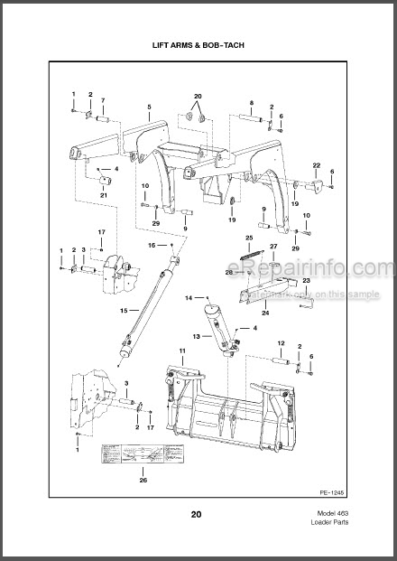 Bobcat 463 Parts Catalog Skid Steer Loader 6901164