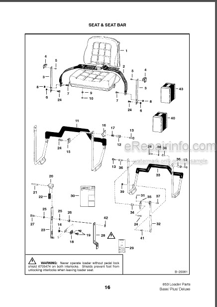 Bobcat 853 Base Plus Deluxe Parts Catalog Skid Steer