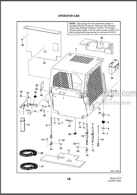 Bobcat 873 Parts Catalog Skid Steer Loader 6724092