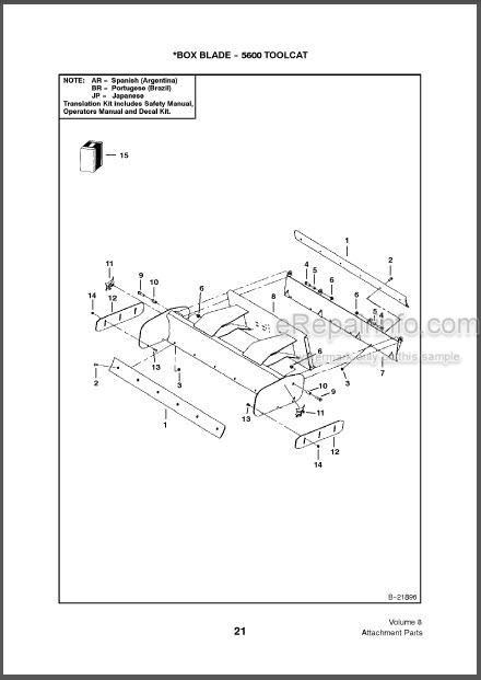 Bobcat Attachments Parts Catalog 6901471