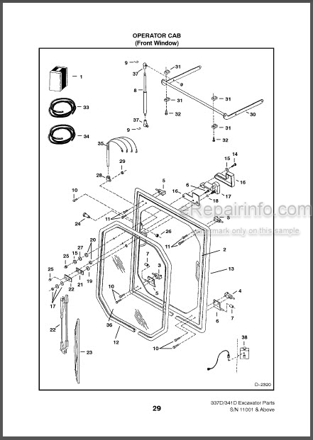 Bobcat 337 341 D Series Parts Catalog Excavator 6901126
