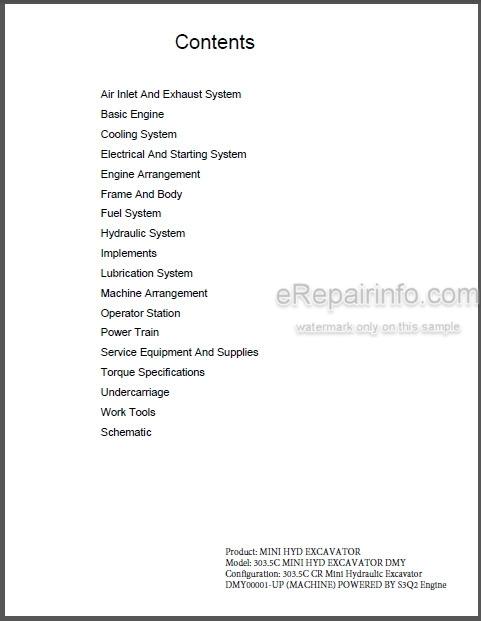 Caterpillar 303 5c Cr Repair Manual Mini Hydraulic