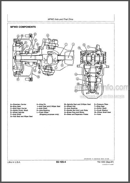 JD 4050 4250 4450 Technical Manual Tractor TM1353