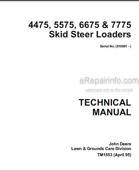 John Deere 4475 5575 6675 7775 Technical Manual Skid Steer