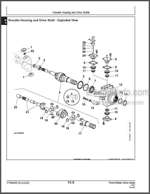 John Deere 730 733 740 745 750 Technical Manual Front