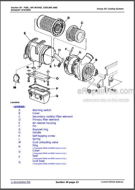 john deere 61006600 se6100se6400 repair manual tractors