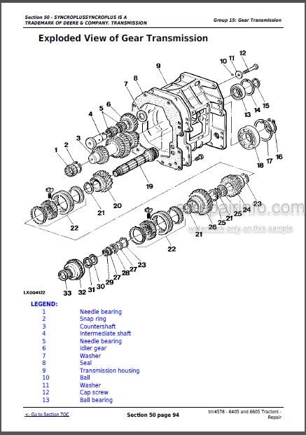 John Deere 6405 6605 Repair Manual Tractors TM4578