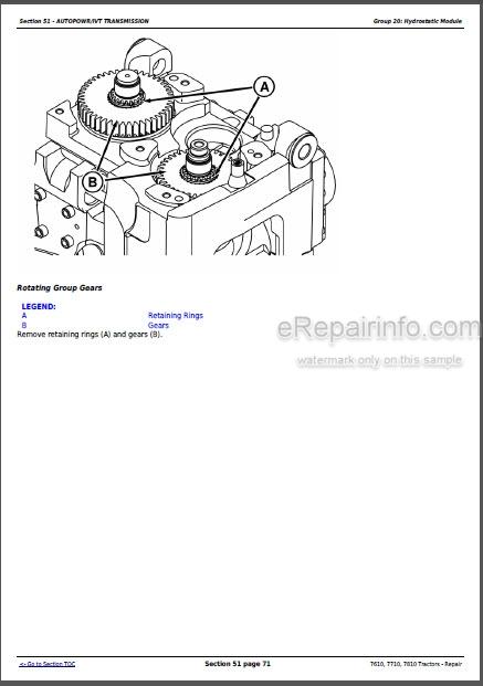 John Deere 7610 7710 7810 Repair Manual Tractors TM1651