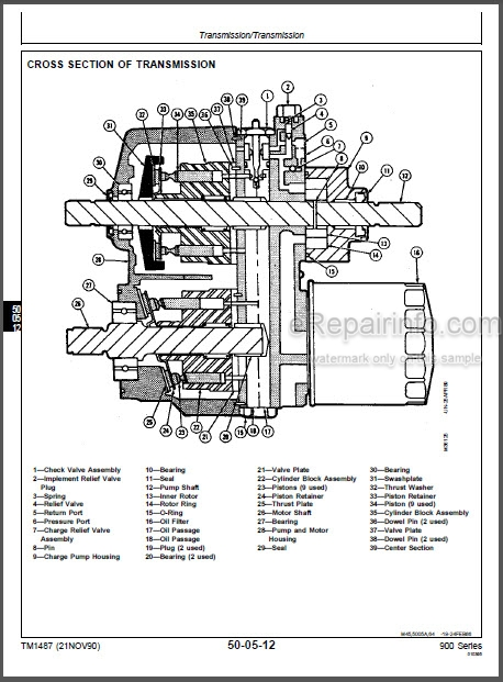 John Deere F911 F915 F925 F932 F935 Repair Manual Front